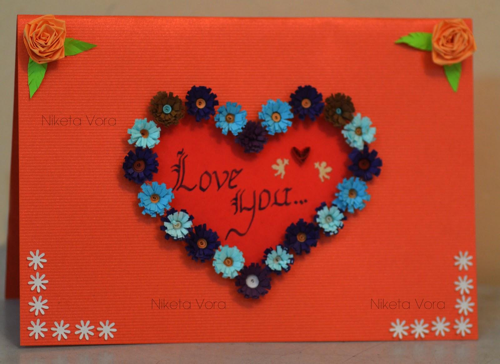 Niketas Creative Corner Paper Quilling I Love You Greeting Card