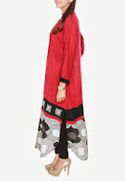Malai linen color blocked shirt with a printed cotton daaman and embroidery on top by Jalebi