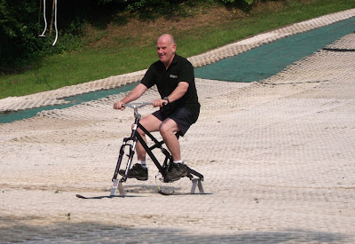 Image of an instructor freestyle skibiking at Telford Ski Centre
