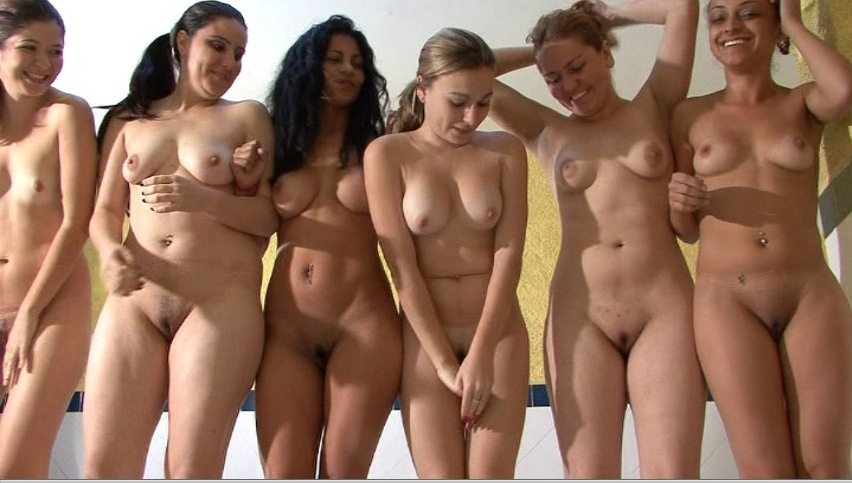 group of topless college girls
