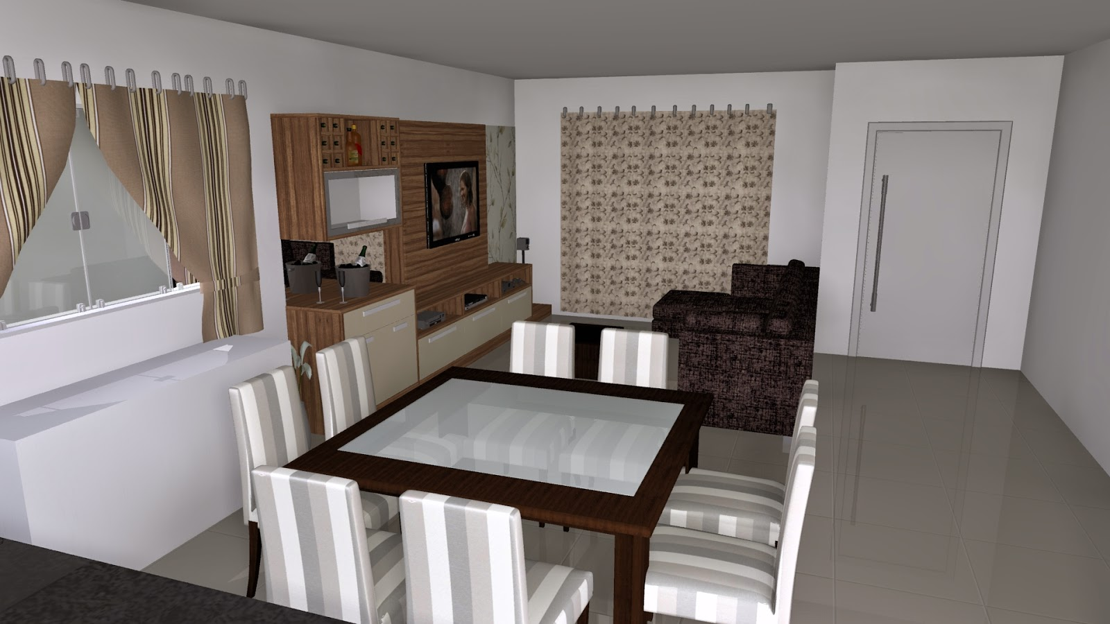 #30241C Casadíssima: Projetos sala de estar e jantar 1600x900 px Projeto Cozinha Sala De Jantar_4381 Imagens