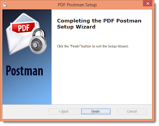 "Image shows the wizard displaying the message, ""Completing the PDF Postman setup wizard."""