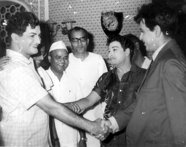 MGR with Telugu Actor NTR & Hindi Actor Dilip Kumar
