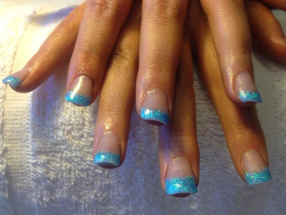 Blue-acrylic-overlay-french-manicure-and-glitz