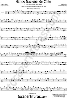 Himno Nacional de Chile Partitura de Viola Sheet Music for Viola Music Score
