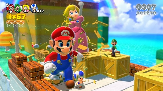 Mega Mario and Mega Peach smashing boxes with normal-sized Luigi and Toad walking alongside them on a bridge in Super Mario 3D World
