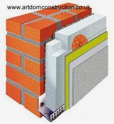 Técnica de aislamiento térmico sobre pared de ladrillos