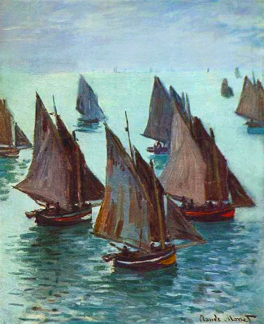 Art artists claude monet part 4 1868 1870 for Fishing boat painting