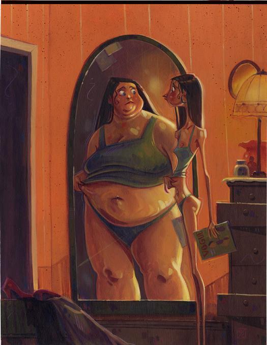devin crane ilustração pintura espelho anorexia