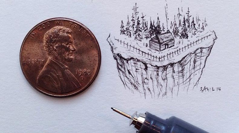 Ilustraciones hermosamente detalladas que son más pequeños que un centavo