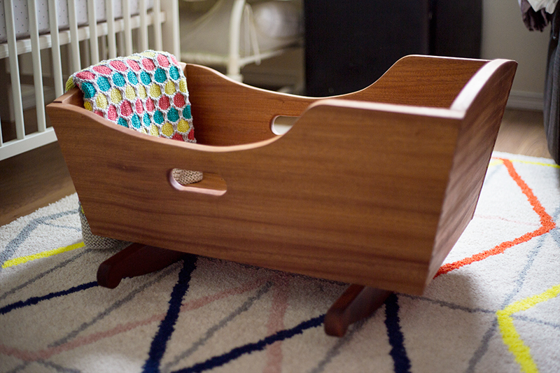 Handmade Sapele and Mahogany Baby Rocking Crib - Little Lady Little City