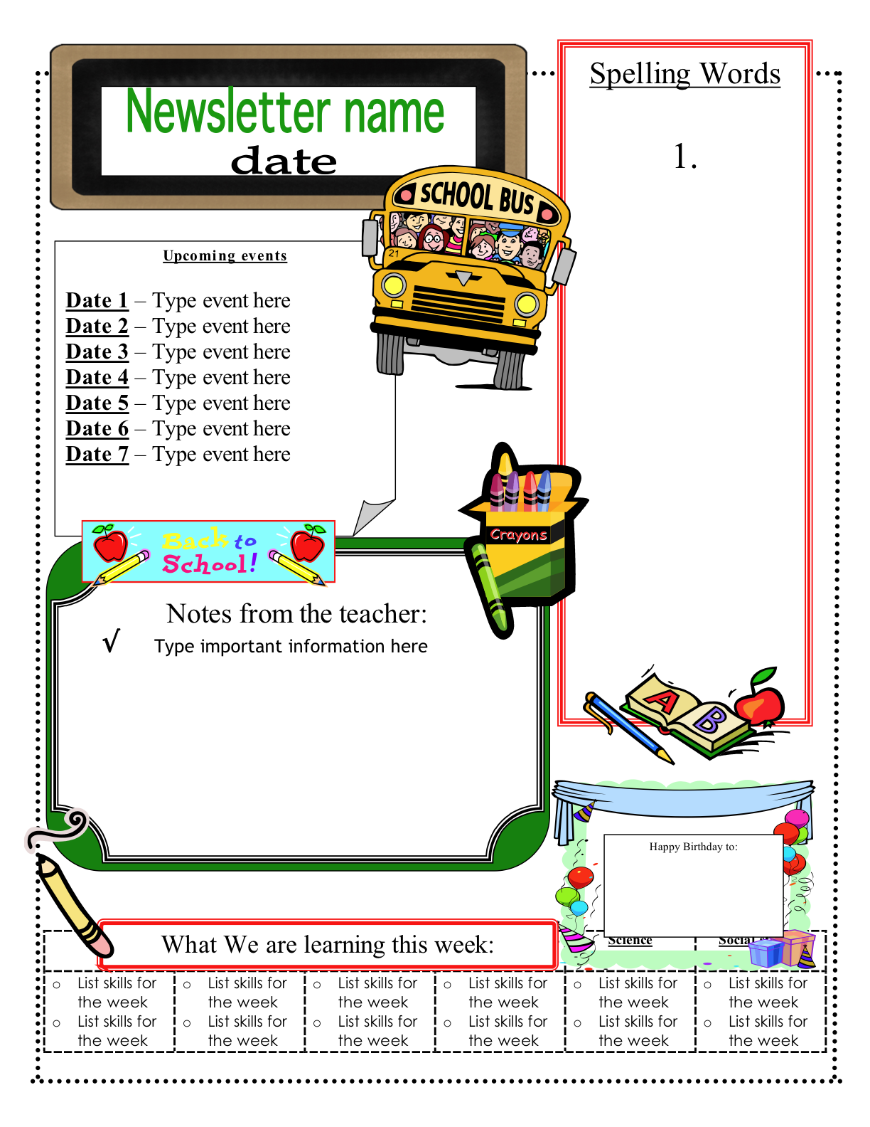 3 6 free resources free classroom newsletter templates for Class newsletter ideas