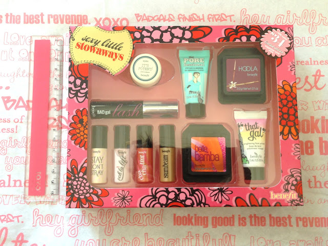 benefit, cosmetics, makeup, hoola bronzer, bronzer, coral my world, confessions of a concealaholic, cabana glama, finding mr bright, badgal badlash, matterial girl, bluff dust, sexy little stowaways pore fessional, that gal primer, primer, sunbeam, cha cha tint, oohlalift, stay don't stray, concealer, eyeshadow, highlight, australia, melbourne