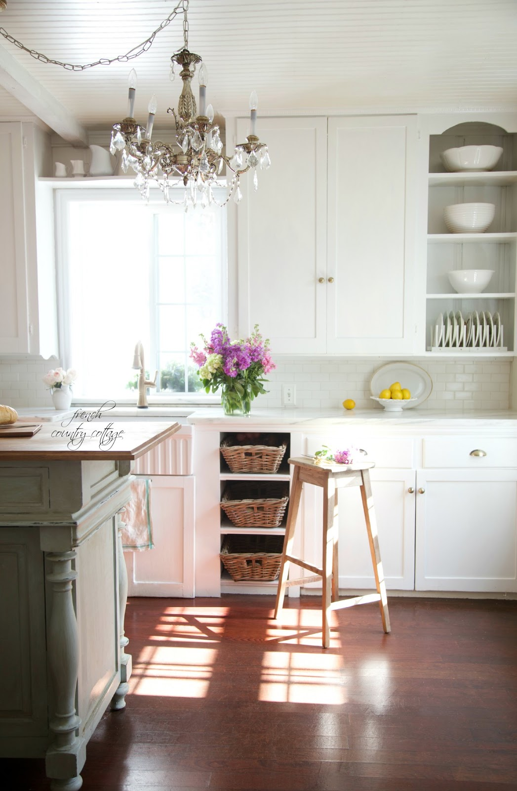 Get the look vintage inspired kitchen island french for How to style a kitchen