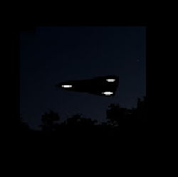Graphic Photo of Black Triangle UFO