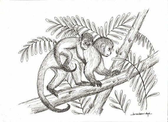 красивый рисунок обезьяны мама и ребенок на ветке
