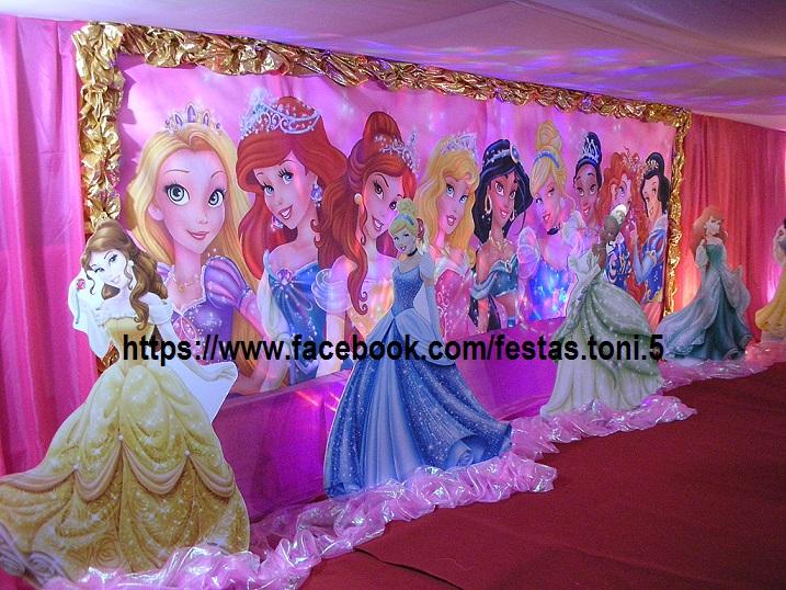 Festas Toni Decoraç u00e3o de Festas Princesas da Disney Cenário em MDF -> Decoração De Festa Das Princesas Da Disney