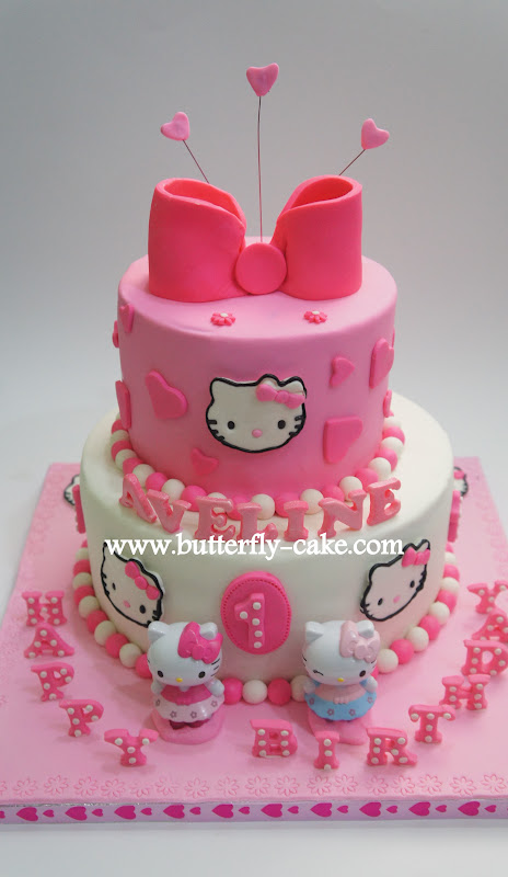 Butterfly Cake Two tiers hello kitty Cake