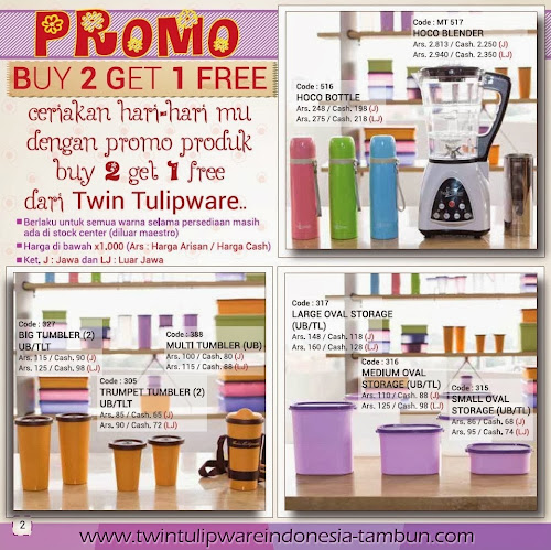 Promo Buy 2 Get 1 Free Tulipware | Maret - April 2014