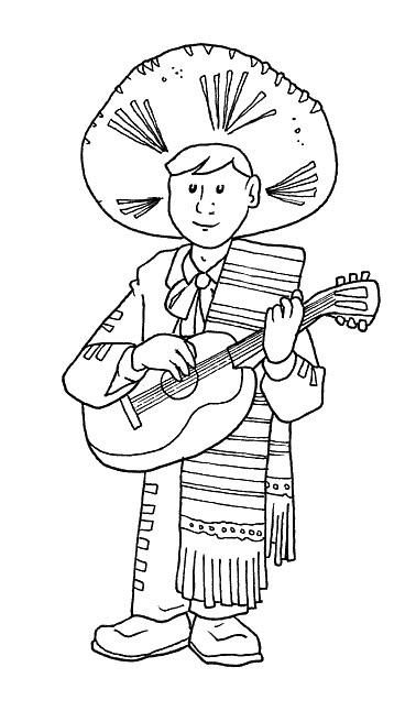 Dibujo para colorear de mariachi