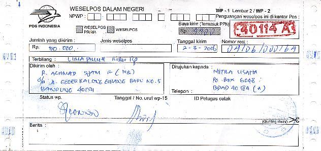 Contoh Surat Wesel Dalam Negeri Dari Pos Indonesia