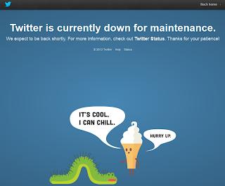 Twitter caído offline down por tareas de mantenimiento.
