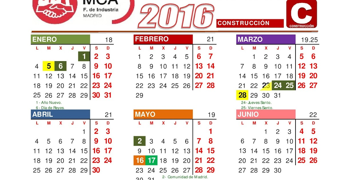 COMITÉ ACCIONA CENTRO: CALENDARIO LABORAL 2016 CONSTRUCCIÓN MADRID.