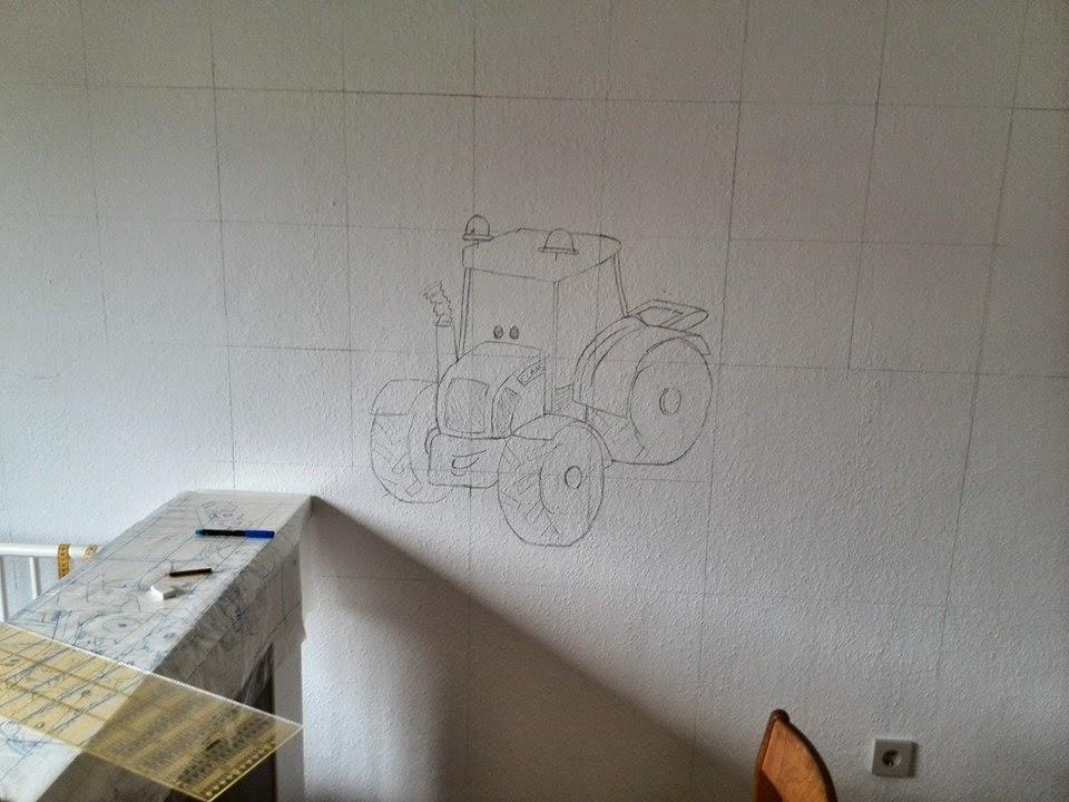 Kinderzimmer wandgestaltung traktor