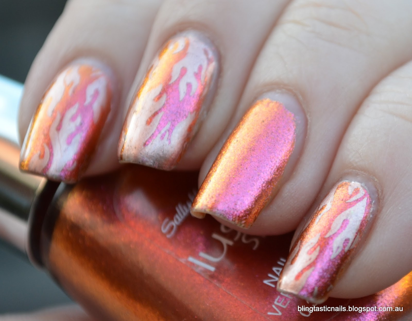 Jas\'s Blingtastic Nails: Sally Hansen Lustre Shine Lava with stamping