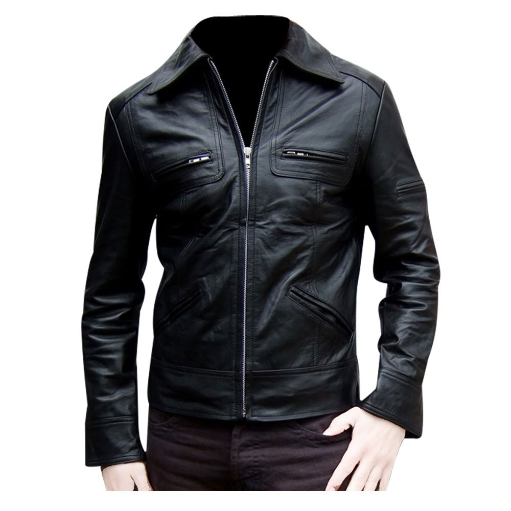 Cheap FactoryExtreme Soprano Perforated Hoodie Mens Black Bomber Leather Jacket
