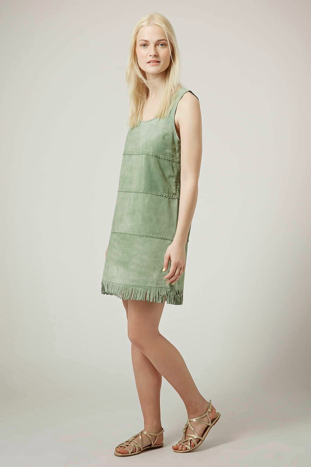 green suede dress