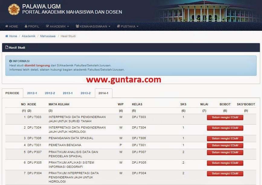 Hasil Studi Belum Bisa Ditampilkan Jika Belum Mengisi EDoM www.guntara.com