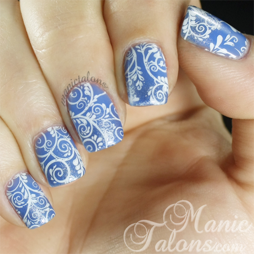 Floral stamped nail art with Bundle Monster BM-718