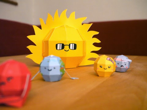 Papercraft imprimible y armable del Sistema Solar Infantil. Manualidades a Raudales.