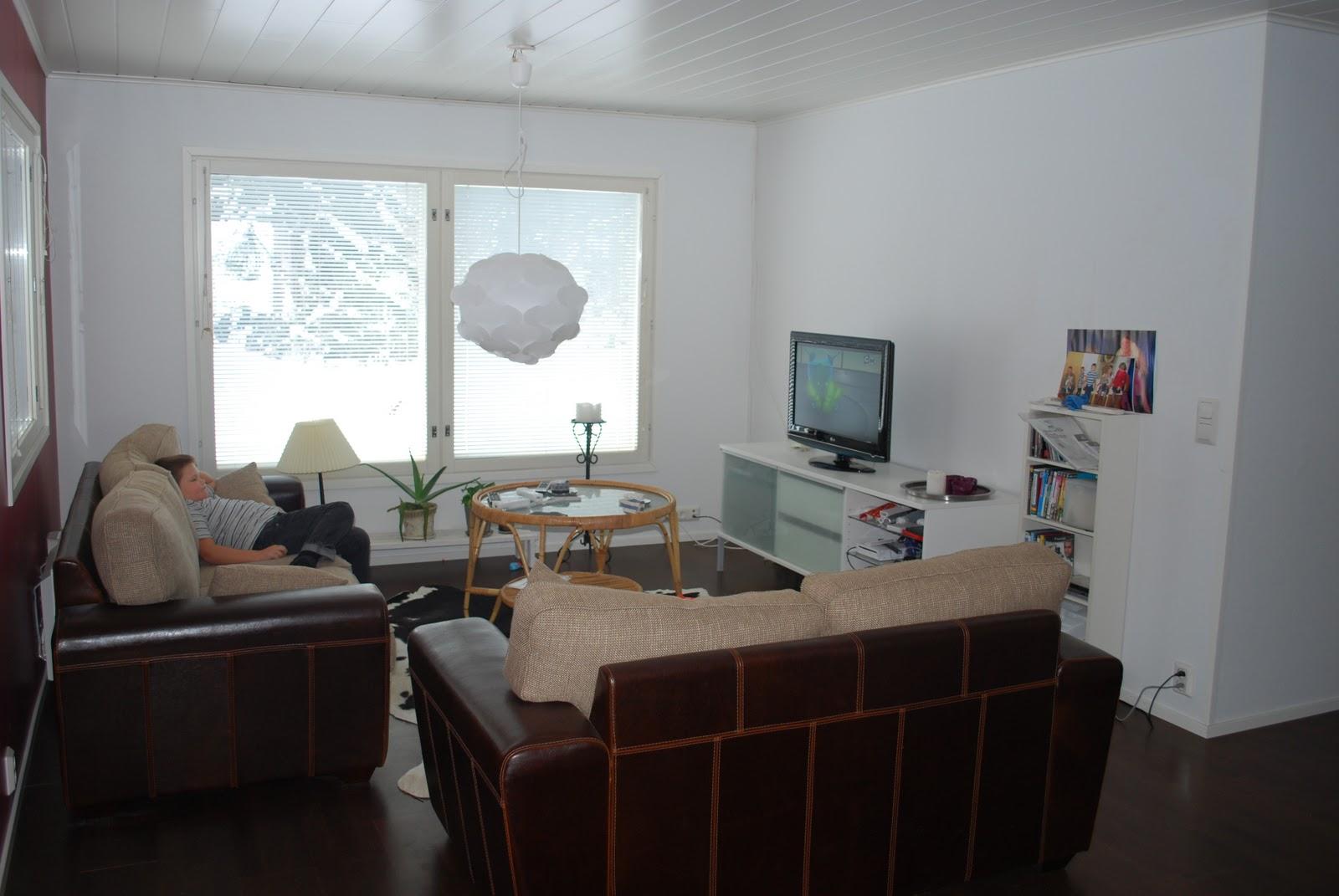 Rött hus vita knutar: mitt vardagsrum.