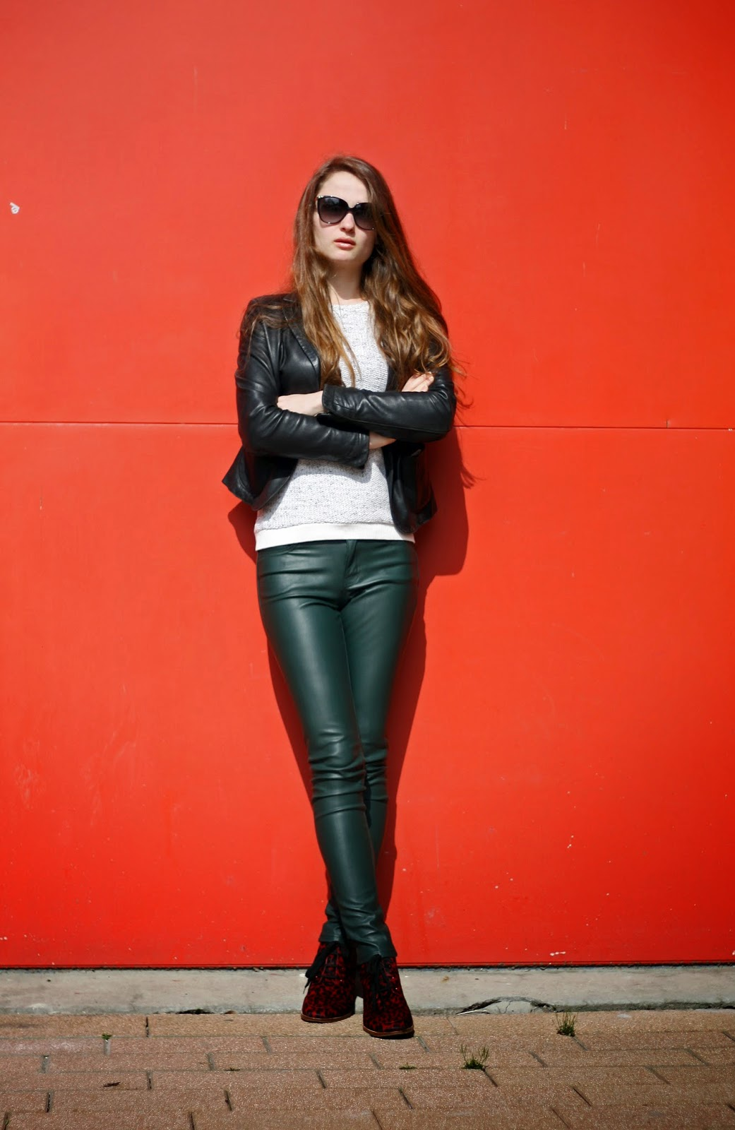 green faux leather pants