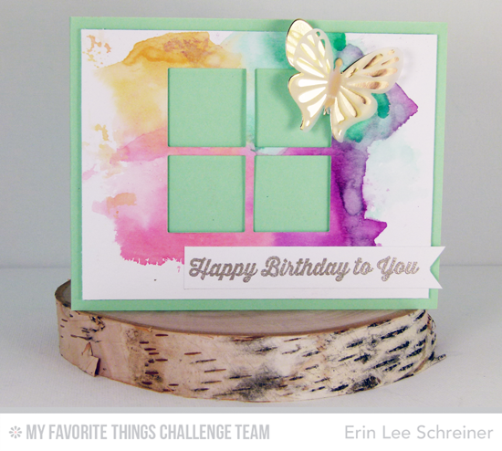 Butterfly Birthday Card by Erin Lee Schreiner featuring the Totally Happy stamp set and Flutter of Butterflies Solid and Lace and Windows Die-namics #mftstamps