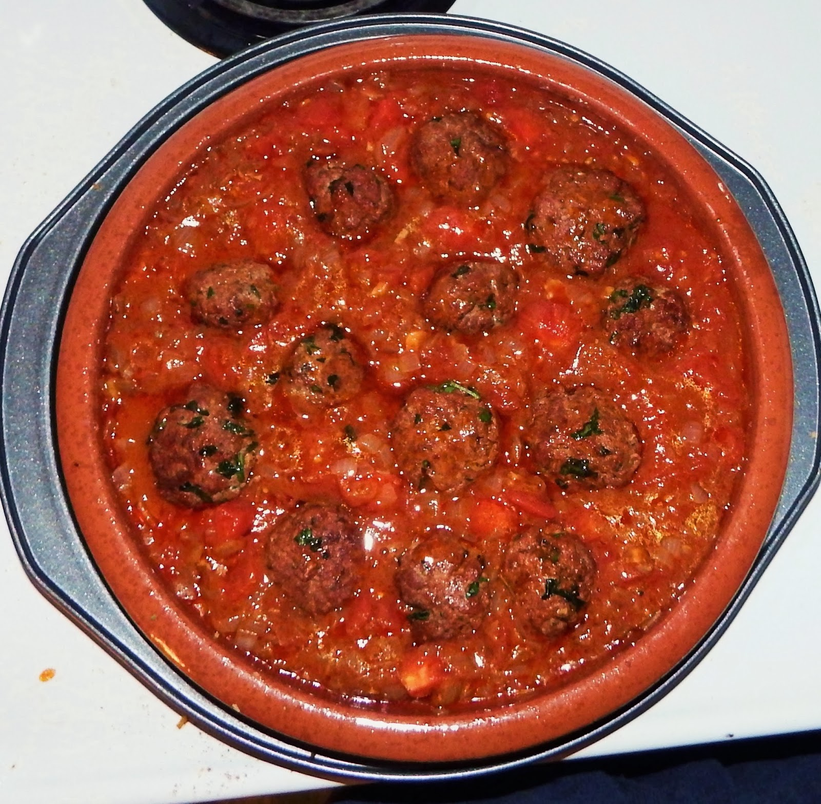 ... Merguez meatballs and any flavourful liquid that has accumulated to
