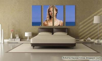 fotomontaje online cuadro cabecera cama
