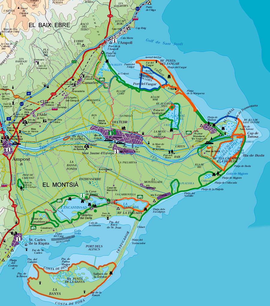 Delta Del Ebro Mapa Mapa Del Delta Del Ebro