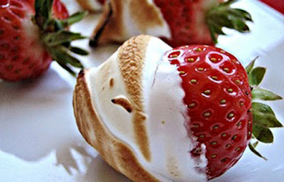 fire roasted marshmallow covered strawberries