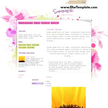Summer blogger template. blogger template with art flower background