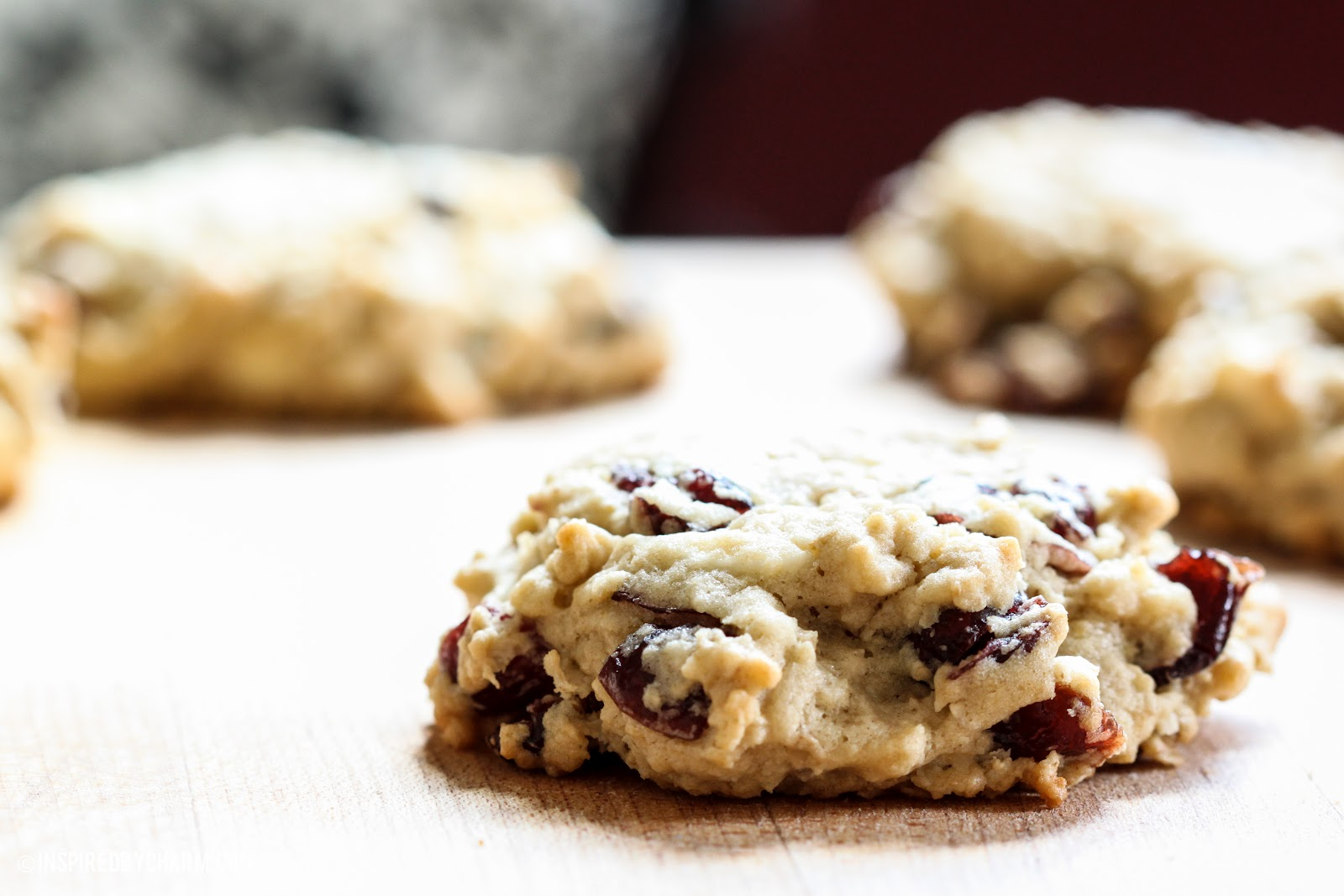 White Chocolate Cranberry Oatmeal Cookies - Inspired by Charm