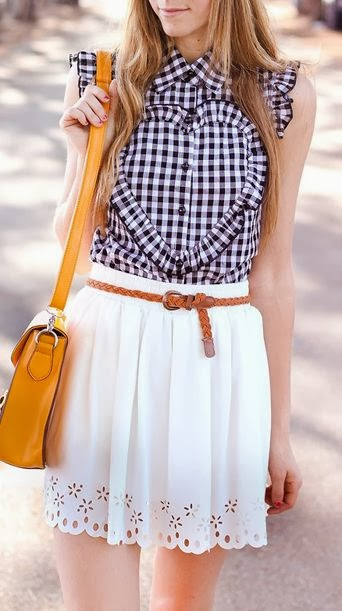 Sleeveless Check Shirt With White Pleated Skirt With Belt