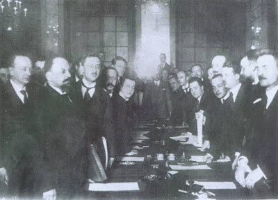 Polish Russian Signing of the Treaty of Riga 1921 after Polish Russian War
