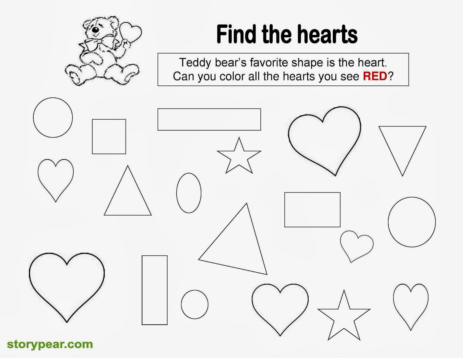 worksheet Color Red Worksheets For Preschool story pear free valentine days printable sheets for preschoolers preschoolers