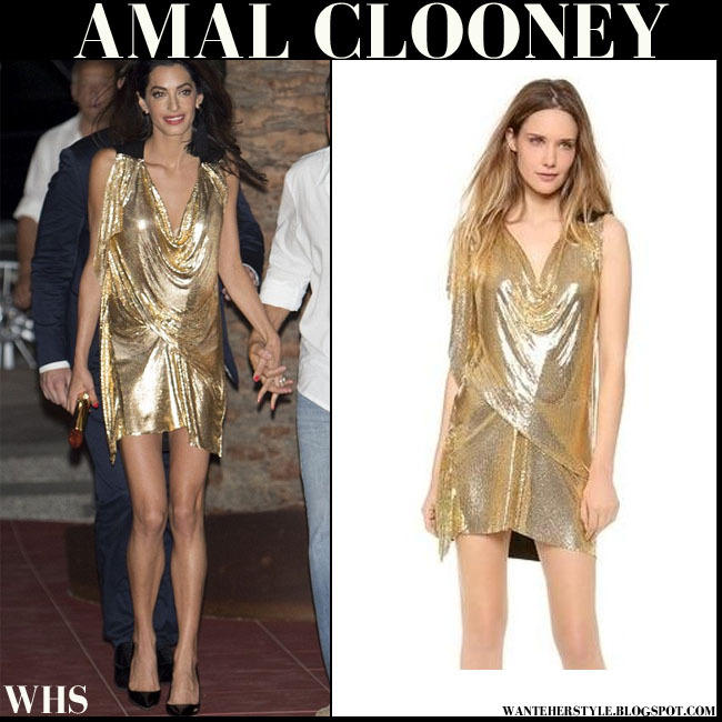 Amal Clooney in gold shimmering mini Vionnet dress ibiza august 22