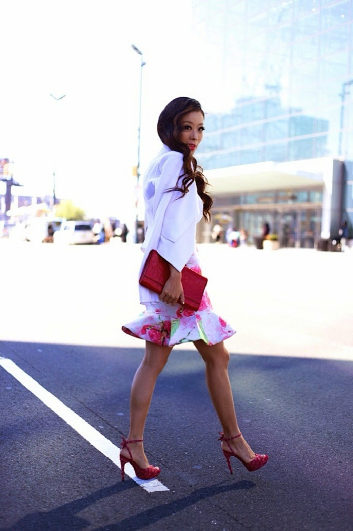Shakuhachi peplum skirt,baublebar pearl studs, baublebar pearl ring, Saint laurent heels, Saint laurent clutch, bcbg blazer, streetstyle, curly hair, shallwesasa,nyc, fashion blog, columbus day sale, sale info, onsale