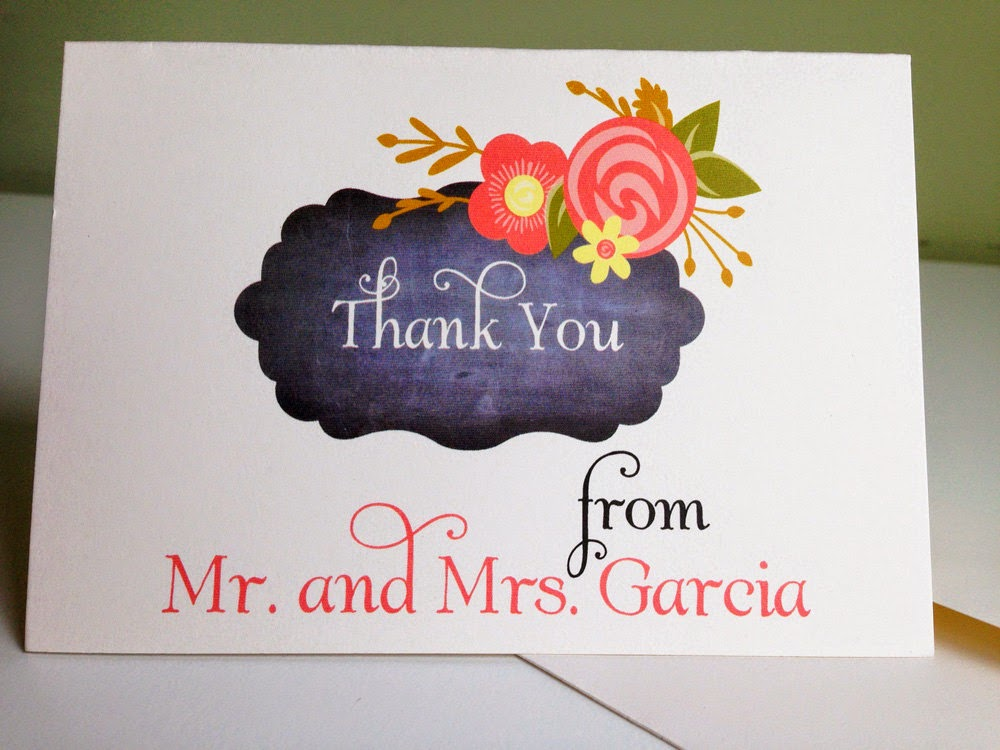 Custom Thank You Cards personalized with your colors, font choices & name
