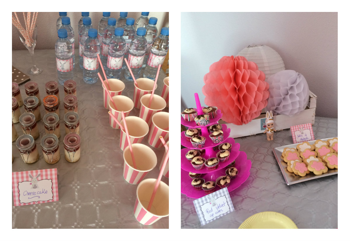 collage con vasos, cupcakes, galletas y pompones de papel